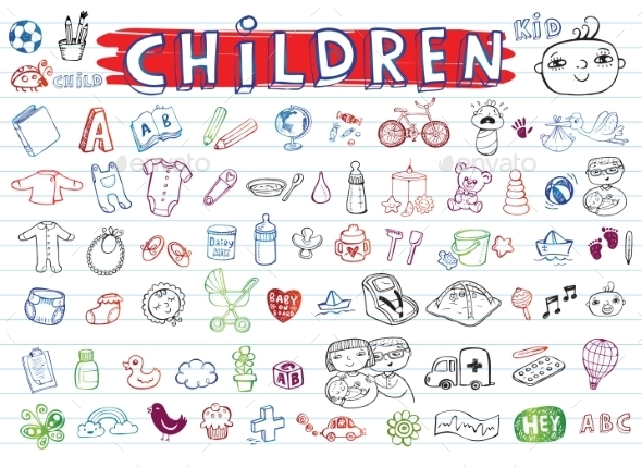 GraphicRiver Children Icon Set 11114519