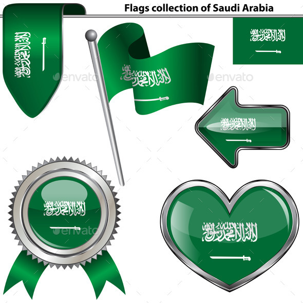GraphicRiver Glossy Icons with Flag of Saudi Arabia 11114695