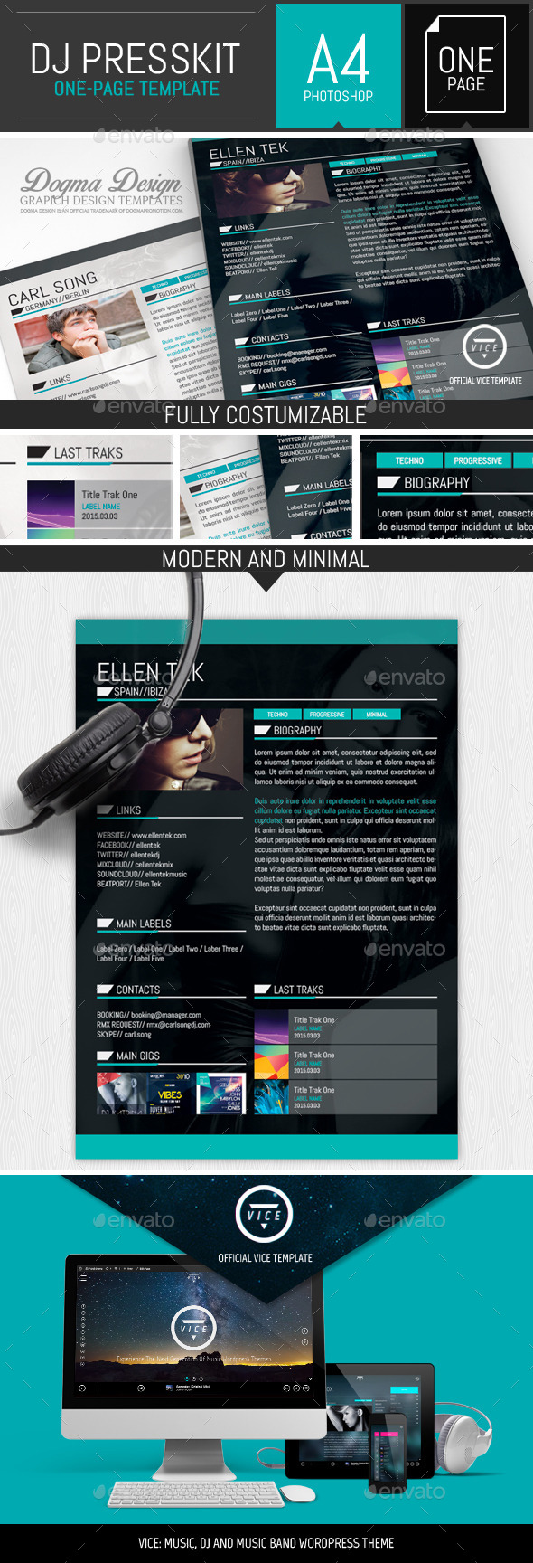 GraphicRiver Vice Dj Musician OnePage Resume Template 11114791