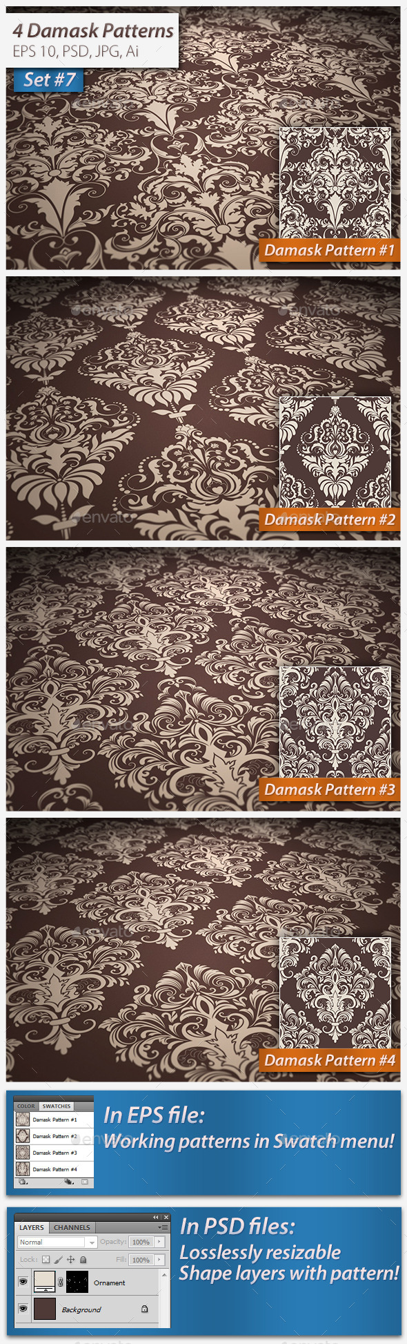 GraphicRiver Seamless Damask Patterns Set 11114857