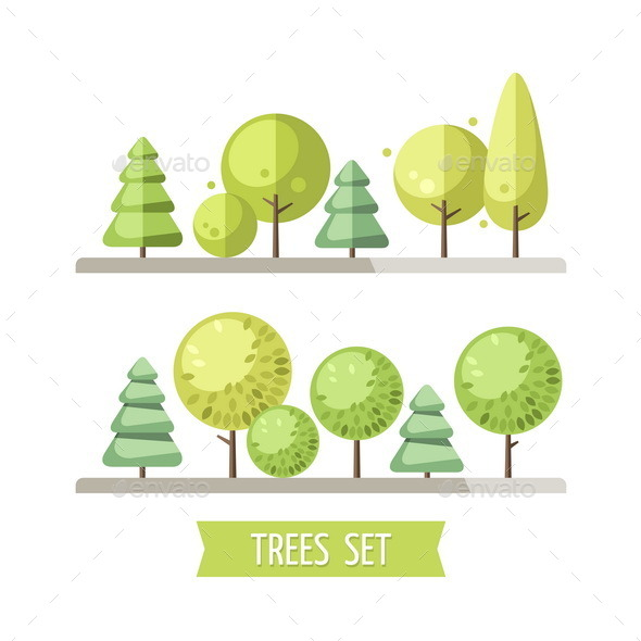 GraphicRiver Set of Flat Trees and Pines 11114880