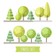 Set of Flat Trees and Pines - GraphicRiver Item for Sale