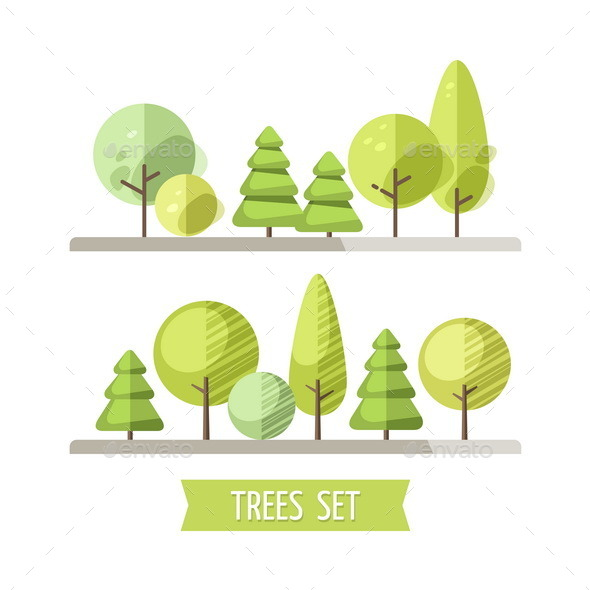 GraphicRiver Set of Flat Trees and Pines 11114908
