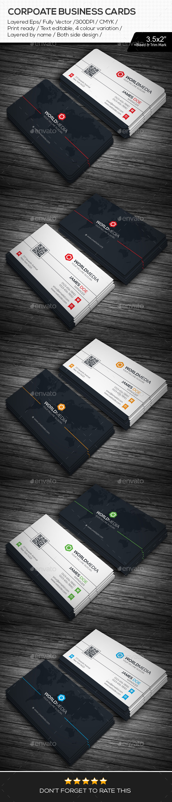 GraphicRiver World Media Corporate Business Cards 11115004