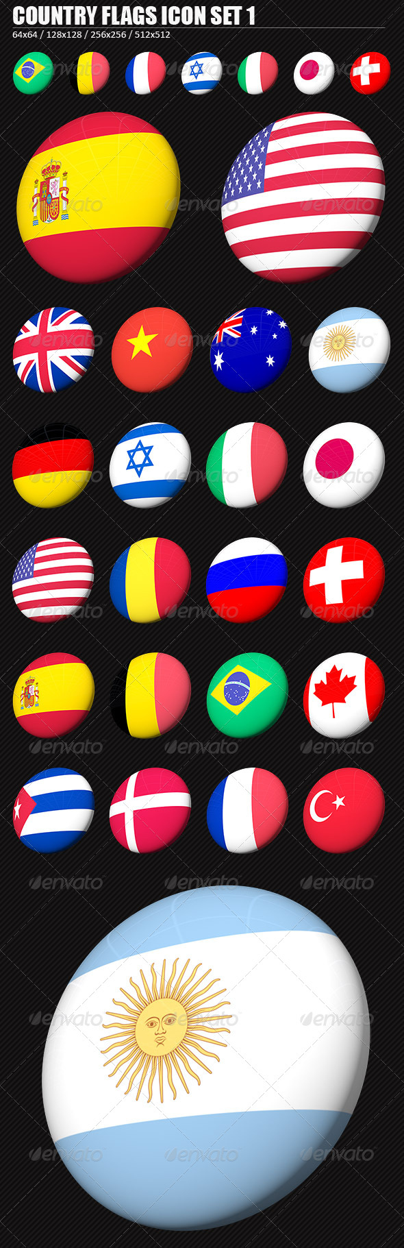 GraphicRiver Country Flags PNG Icon Set 1 137587
