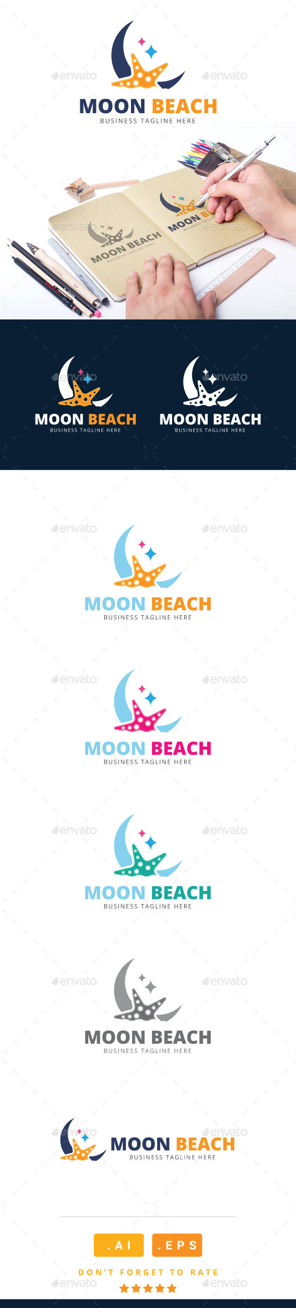 GraphicRiver Moon Beach Logo 11116189