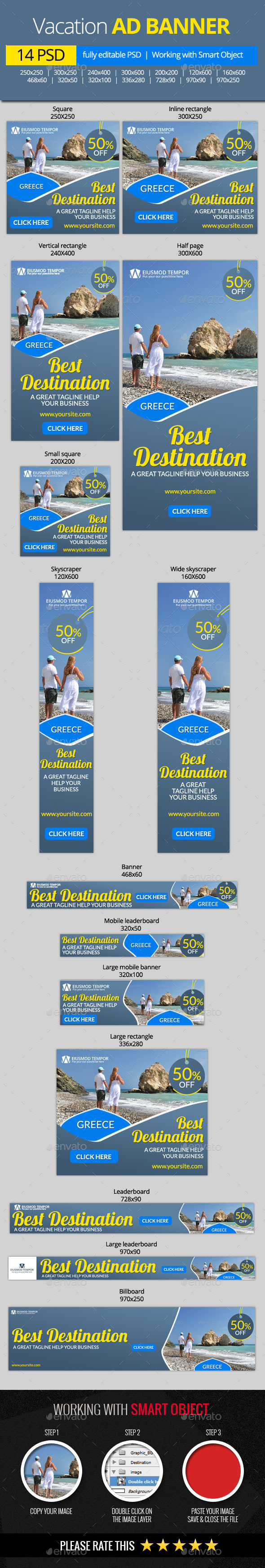 GraphicRiver Holidays and Vacation Web Banners 11116436