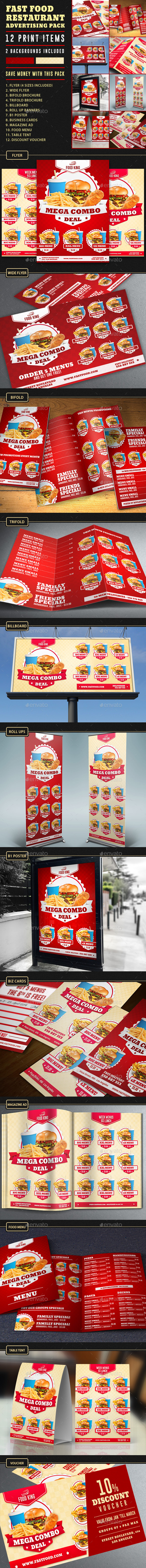 GraphicRiver Restaurant Fast Food Advertising Bundle Pack 11043443