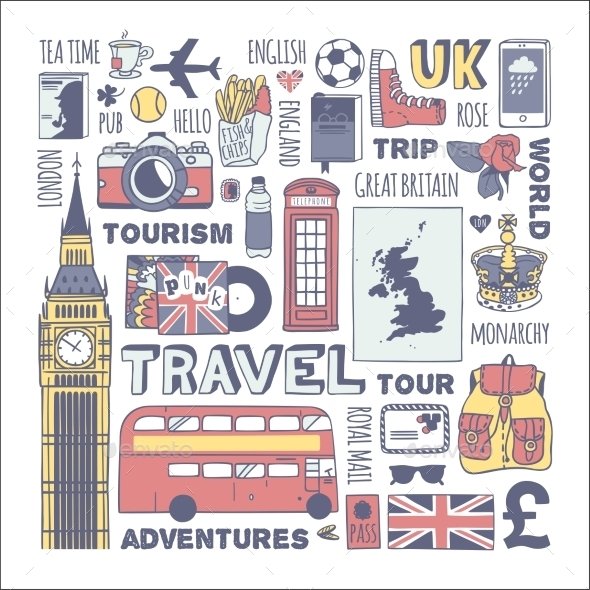 GraphicRiver England Travel Set 11117090