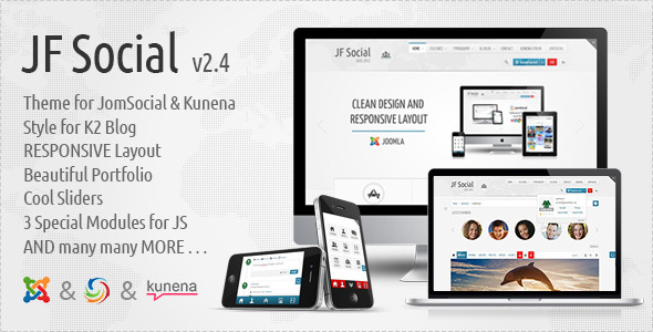 JF Social - Joomla JomSocial Kunena Template - JF Social Preview