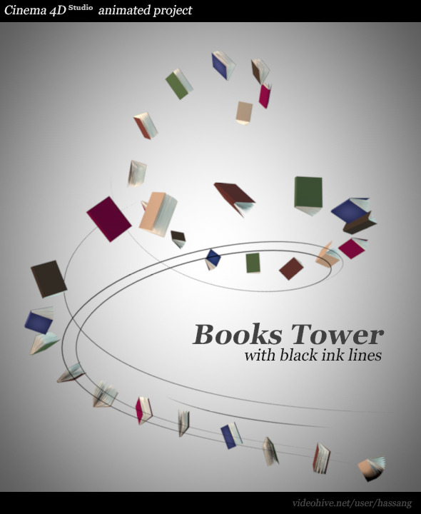 3DOcean Books Tower with Black Lines Animated 11118473