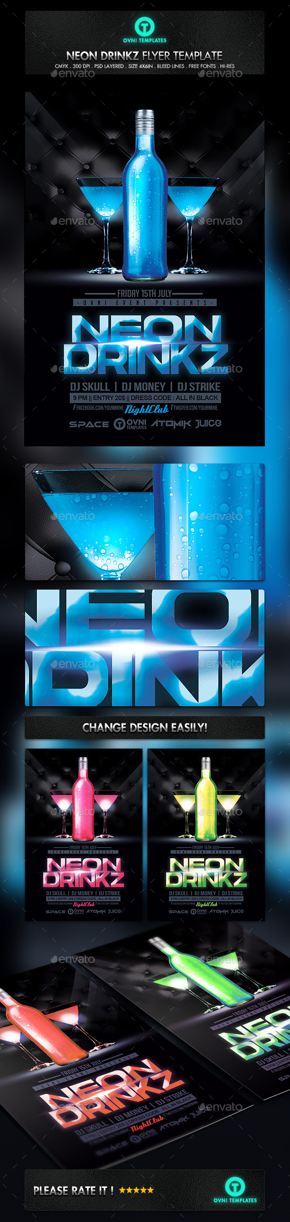 GraphicRiver Neon Drink Flyer Template 11118775