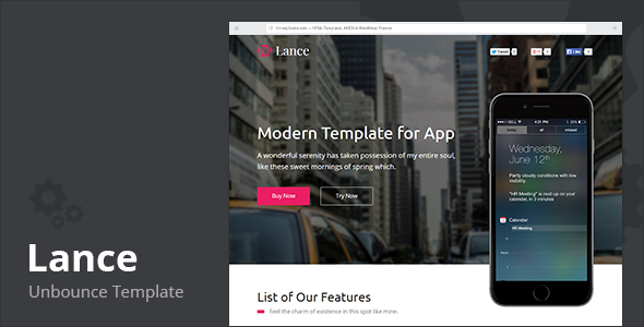 ThemeForest Lance Startup Landing Page Unbounce 11049613