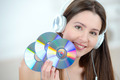 Woman holding a bunch of cds - PhotoDune Item for Sale