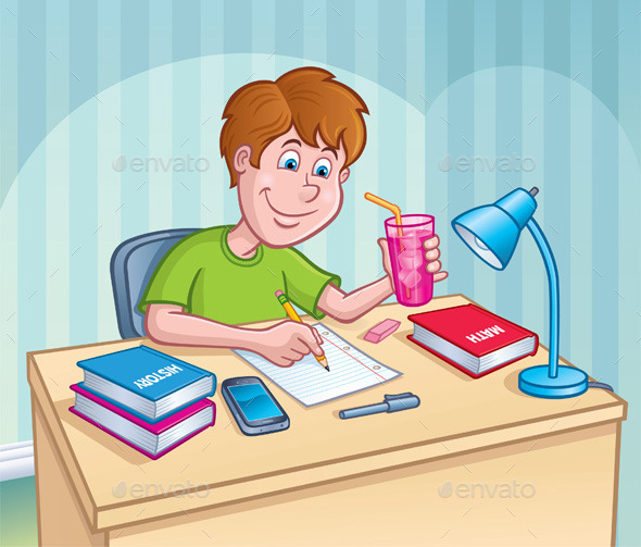 GraphicRiver Boy Working On A Homework Assignment 11119461