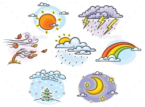 GraphicRiver Cartoon Weather Set 11119462