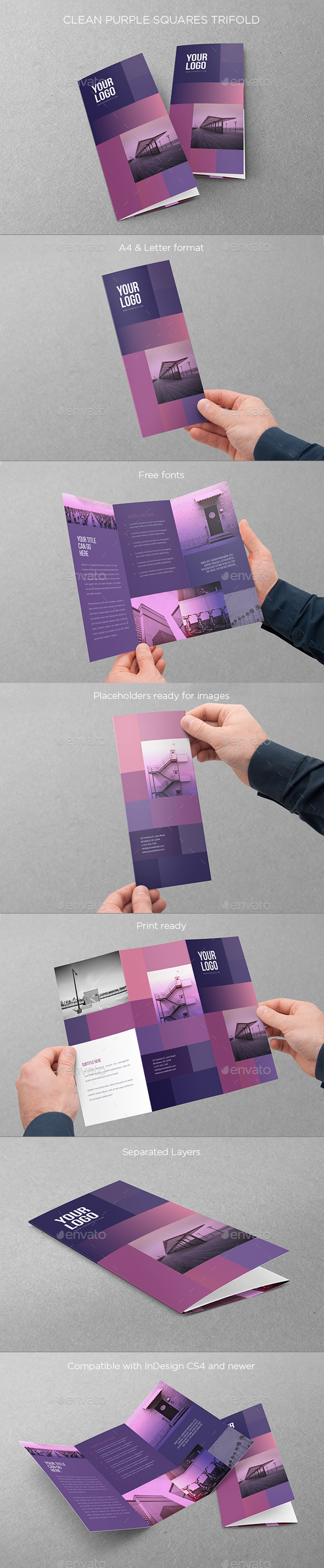 GraphicRiver Clean Purple Squares Trifold 11119549