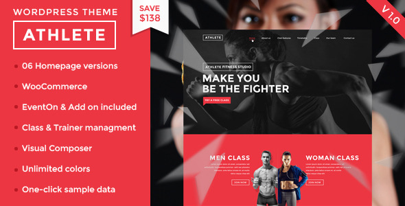 ThemeForest Athlete Fitness Gym and Sport Wordpress theme 11063840