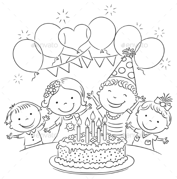 GraphicRiver Kids Birthday Party Outline 11119558