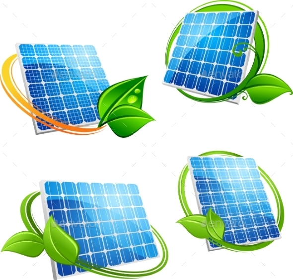 GraphicRiver Cartoon Solar Panel with Leafy Frames 11119598