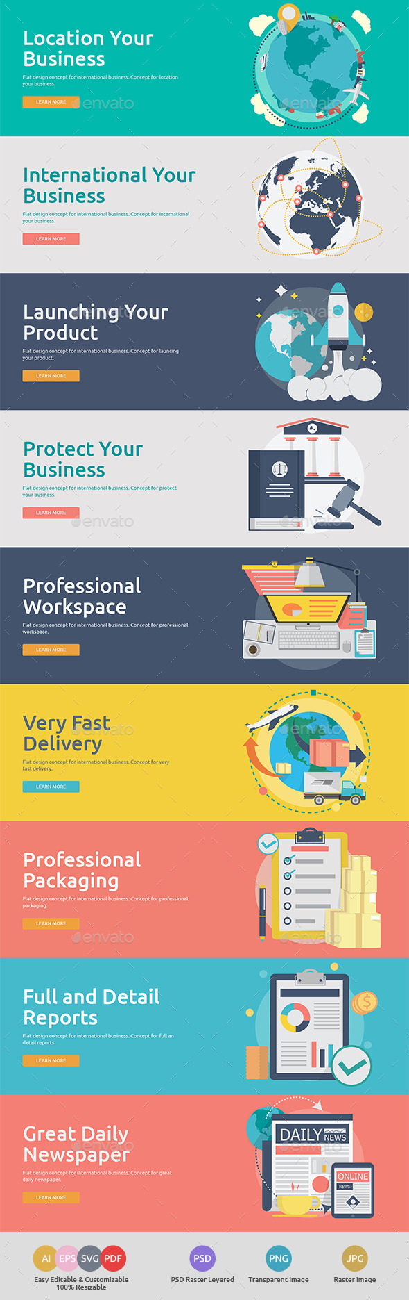 GraphicRiver Flat Concept Banners for International Business 11119706