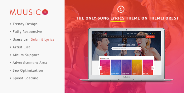 ThemeForest Muusico Song Lyrics WordPress Theme 10964140