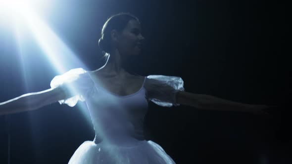 VideoHive Mid Shot of a Beautiful Young Ballerina Dancing Gracefully in the Spotlight 19473658