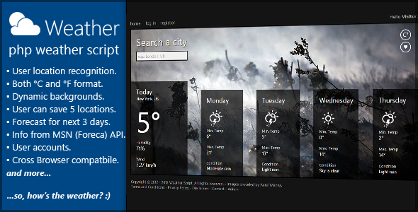 PHP Weather Forecast - CodeCanyon Item for Sale
