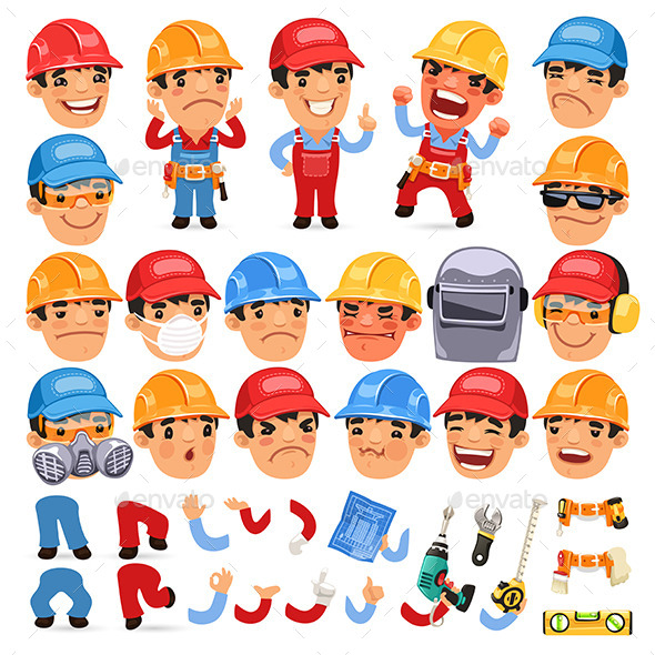 GraphicRiver Set of Cartoon Worker Characters 11103425