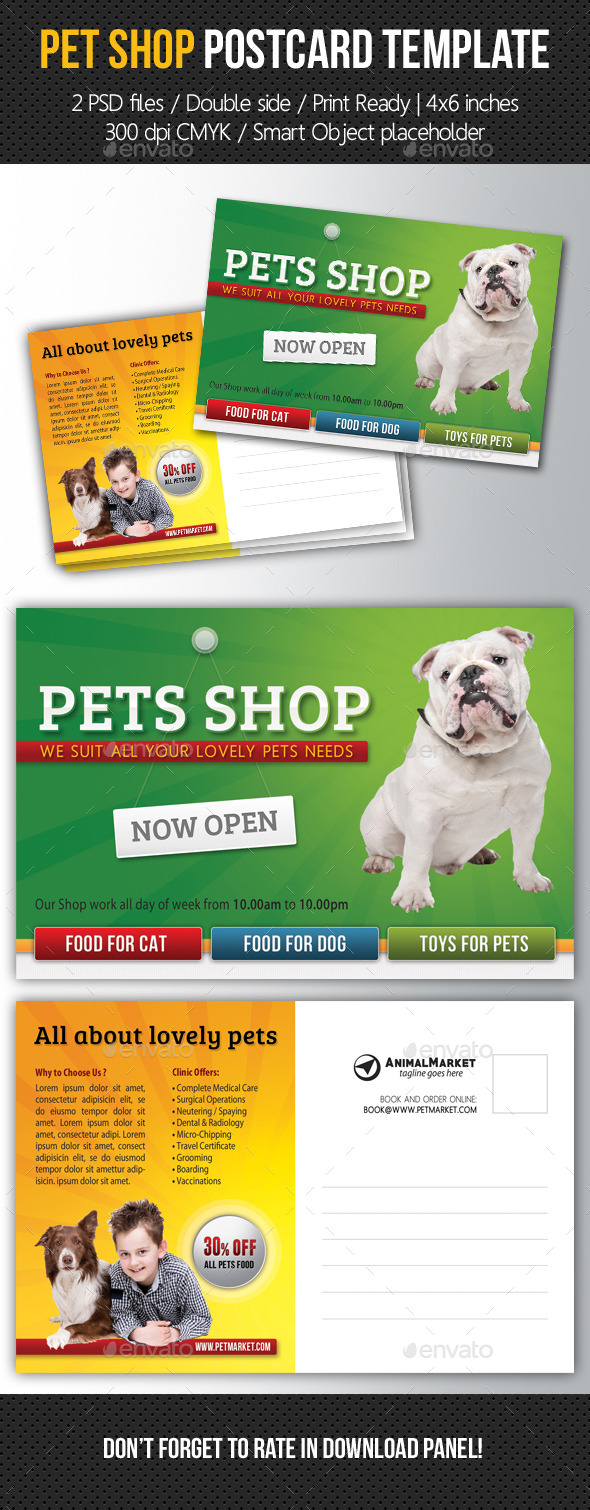 GraphicRiver Pet Shop Postcard Template 11122422