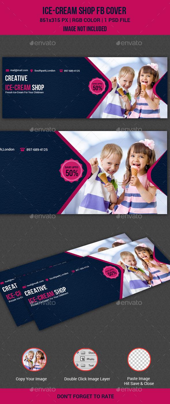 GraphicRiver Icecream Shop Facebook Cover 11123015