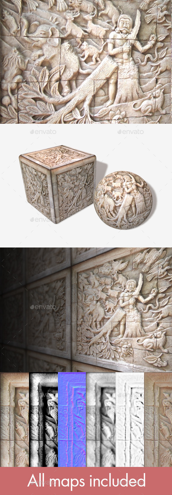 Asian Carved Stone Texture - 3DOcean Item for Sale