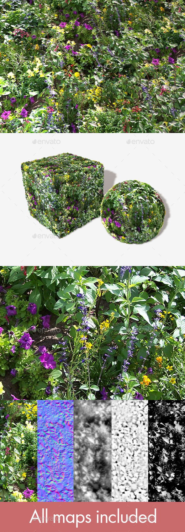 Forest Flowers Seamless Texture - 3DOcean Item for Sale