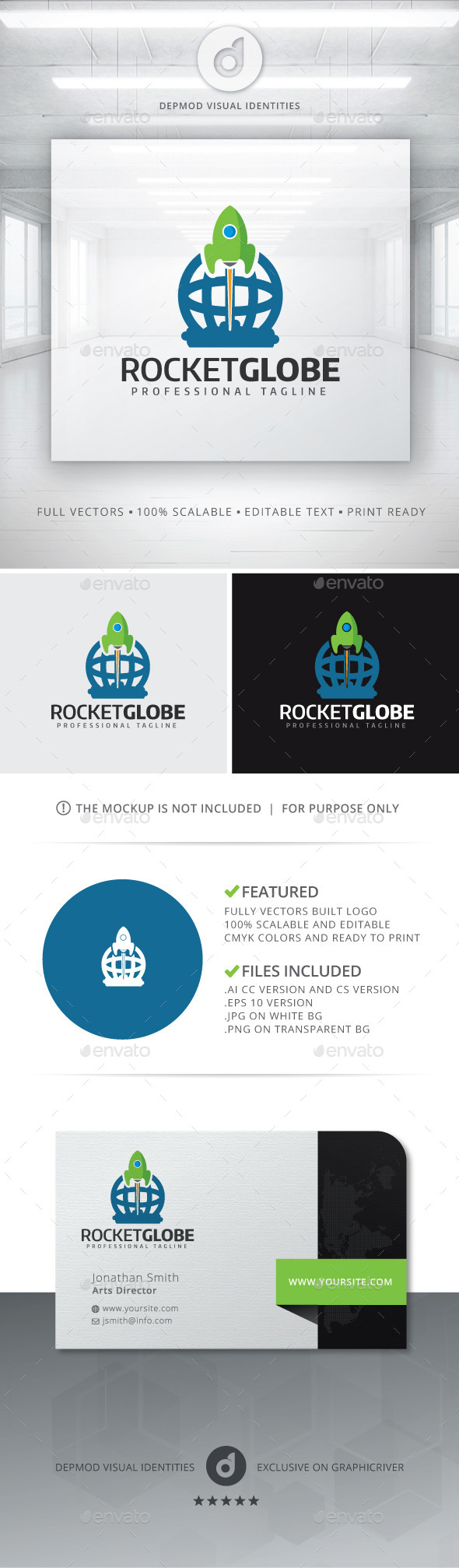 GraphicRiver Rocket Globe Logo 11125208