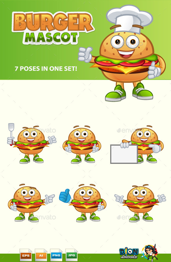 GraphicRiver Burger Mascot 11125526