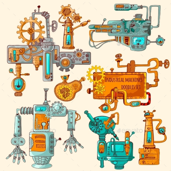 GraphicRiver Industrial Machines Doodles Colored 11125741