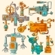 Industrial Machines Doodles Colored - GraphicRiver Item for Sale