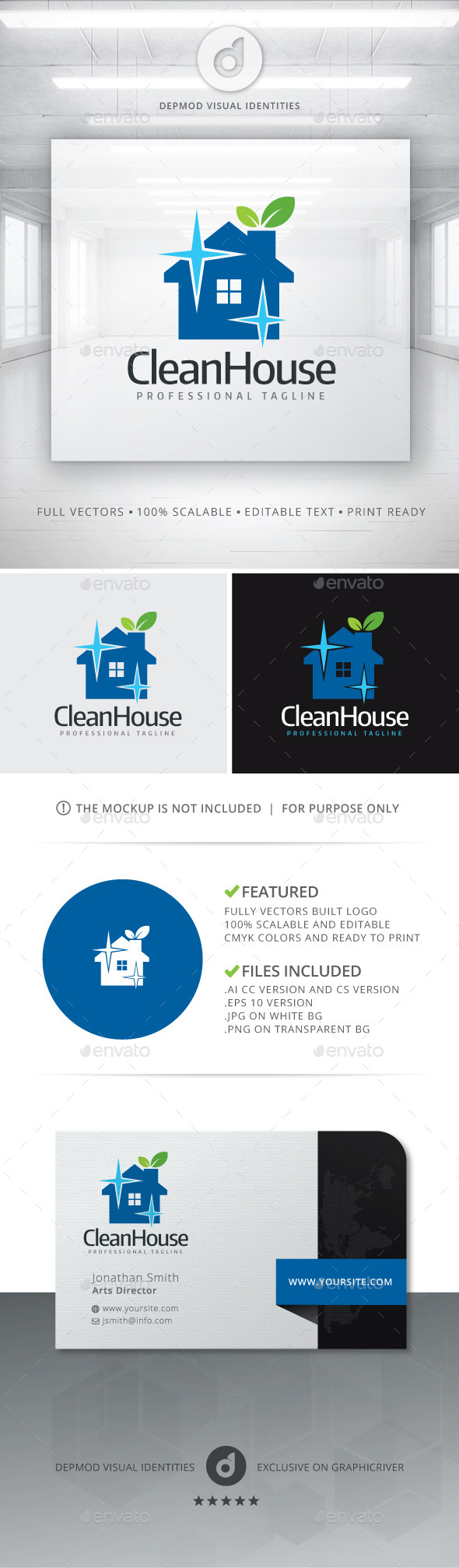 GraphicRiver Clean House Logo 11125882