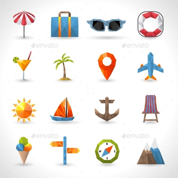 GraphicRiver Travel Polygonal Icons 11126024