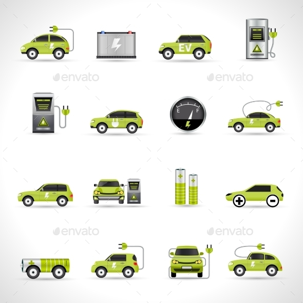GraphicRiver Electric Car Icons 11126030