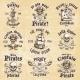 Set of Vintage Hand Drawn Pirate Emblems - GraphicRiver Item for Sale