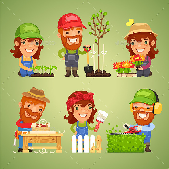 GraphicRiver Farmers at Spring Work Set 11109765