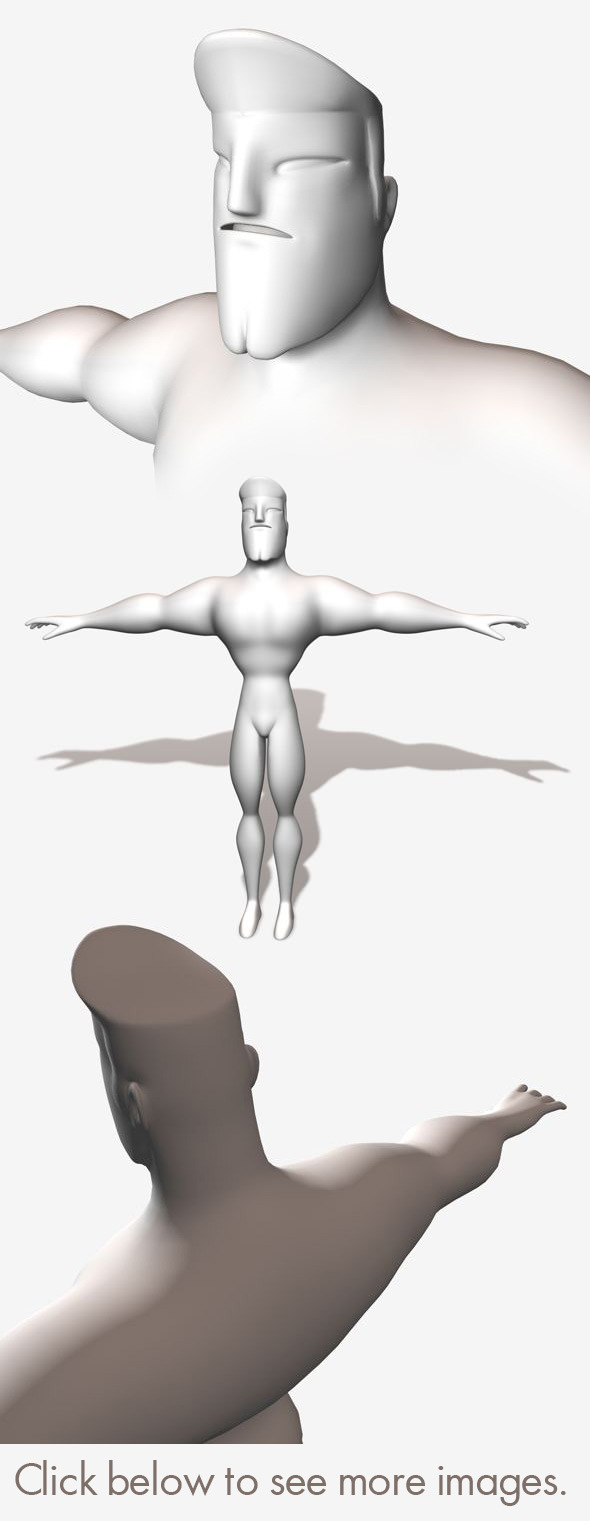 3DOcean Low Poly Base Mesh Muscular Male Super Hero 11127635