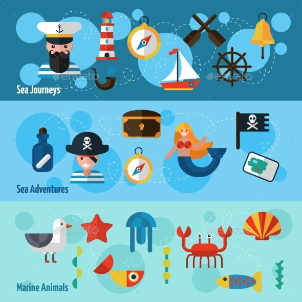GraphicRiver Nautical Banners Set 11127685