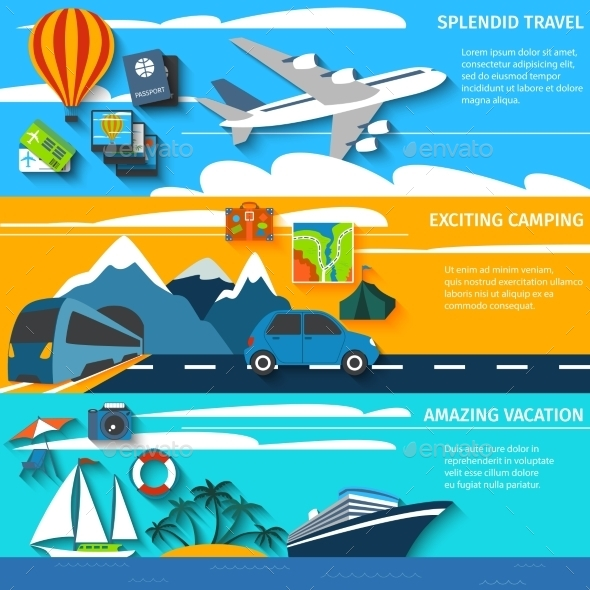 GraphicRiver Travel Vacation Camping Banners Set 11127730