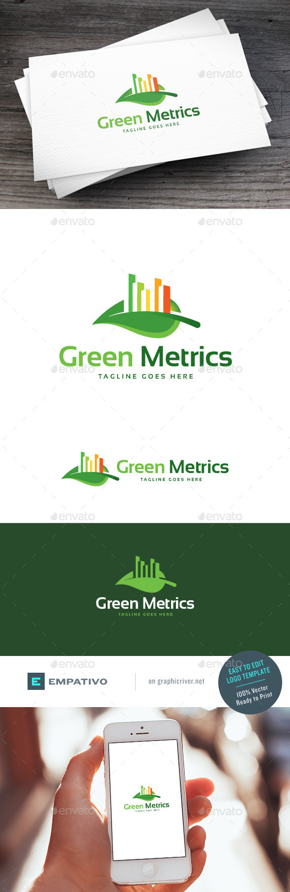 GraphicRiver Green Metrics Logo Template 11098261
