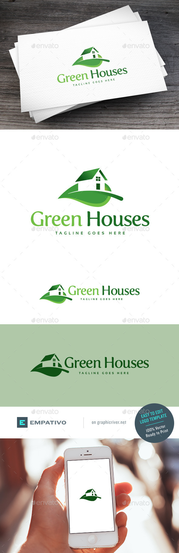 GraphicRiver Green Houses Logo Template 11098254