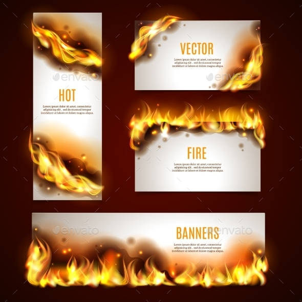 GraphicRiver Fire Banners Set 11128570