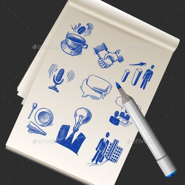 GraphicRiver Sketchbook with Business Doodles 11128672