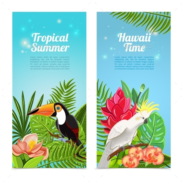 GraphicRiver Tropical Island Bird Banners 11128829